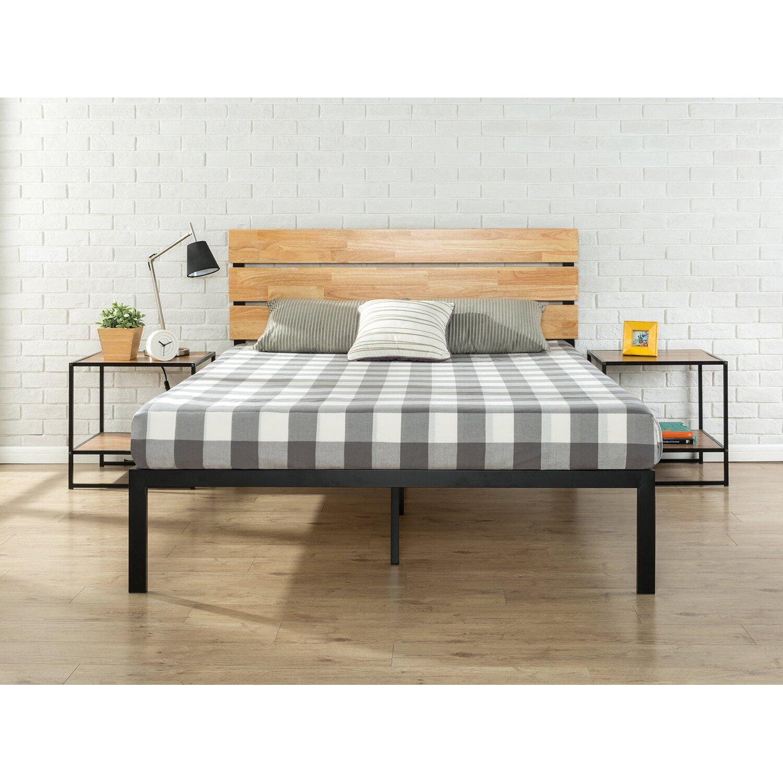 zinus sonoma metal wood platform bed reviews wayfair. Black Bedroom Furniture Sets. Home Design Ideas