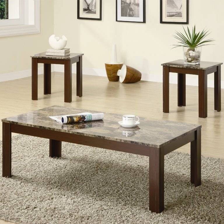 Charlton Home Colmer  Piece Coffee Table Set In Brown  Reviews - Coffee table end table set