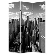 72 x 48 New York Skyline 3 Panel Room Divider by Screen Gems