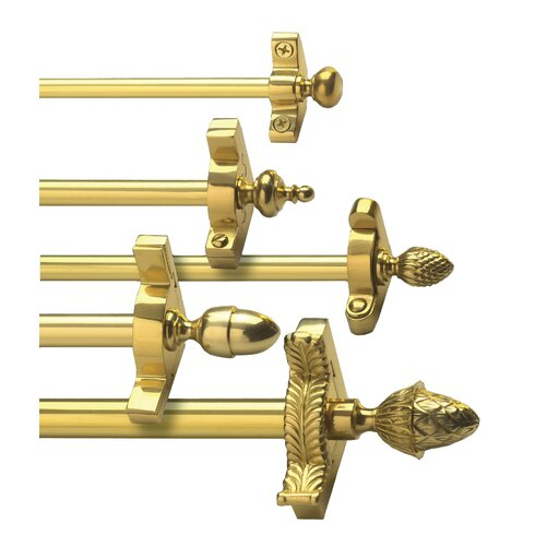 """Heritage 28.5"""" Solid Stair Rod Set Extended Brackets Pineapple Finial"""