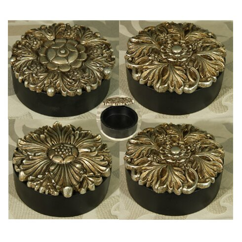 4 Piece Round Trinket Box Set With Pewter Coloured Lids