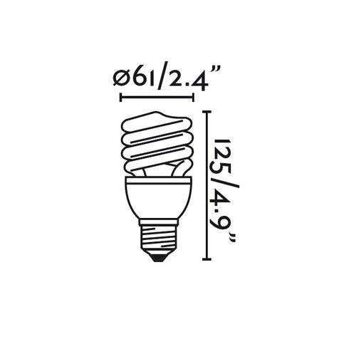 20W Spiral Compact Fluorescent (CFL) Light Bulb