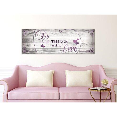 """Do All Things With Love"", Wandbild in Weiß/Lila"