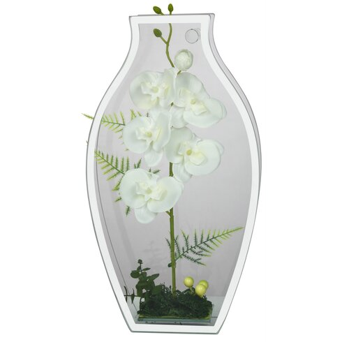 Vane Faux White Orchid in Glass Case