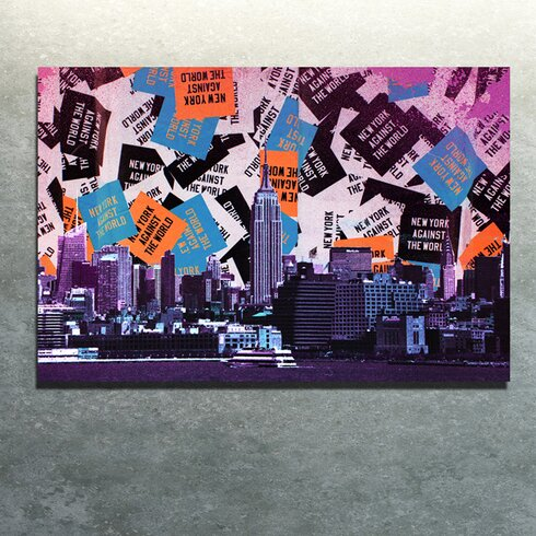 New York Vs The World Graphic Art on Canvas