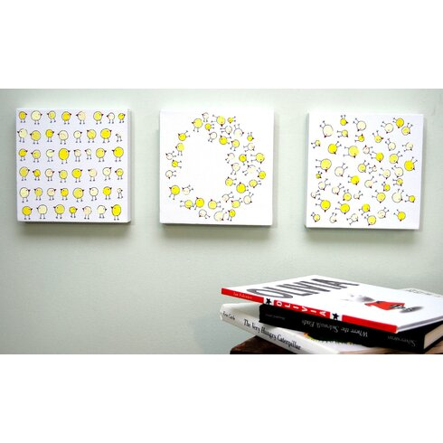 Lotsa Random Chicks Original Canvas Art