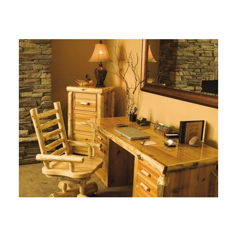 Traditional Cedar Log Executive Desk and Chair Set