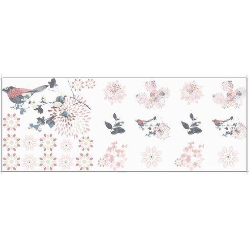 Glastattoo-Set Vögel, Blumen, Blätter