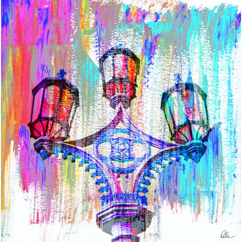 London Big Ben Street Lamps Graphic Art Wrapped on Canvas