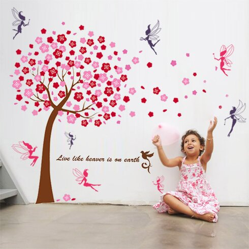 Pink Tree Mural with Fairy Tale Nursery Room Wall Stickers