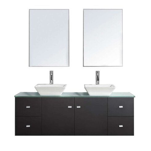 """Ultra Modern 61"""" Double Bathroom Vanity Set with Tempered Glass Top and Mirror"""