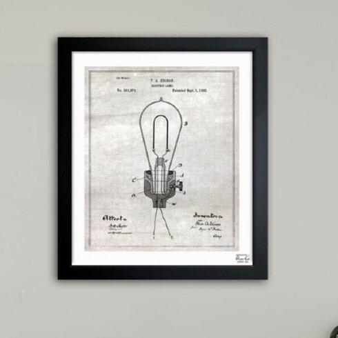 Edison Electric Lamp 1882 Framed Graphic Art