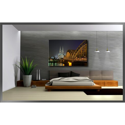 Cologne Cathedral Bridge Photographic Print Wrapped on Canvas