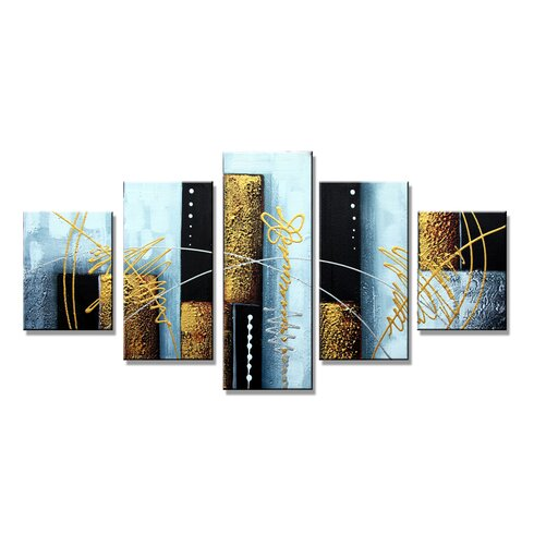 Abstract 5 Piece Graphic Art on Canvas Set