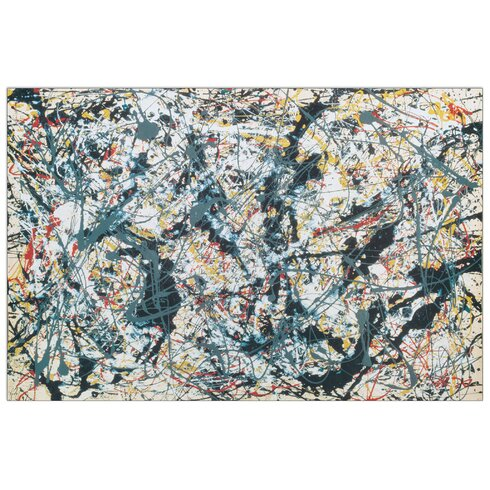 'Silver over Black White Yellow and Red 1948' by Pollock Art Print Plaque