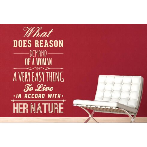 What Does Reason Demand of a Woman Wall Sticker