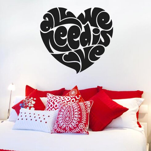All We Need Is Love In Heart Shape Wall Sticker
