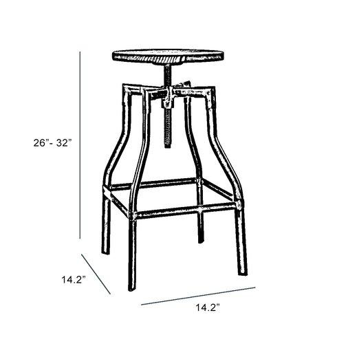 Machinist Adjustable Height Swivel Bar Stool