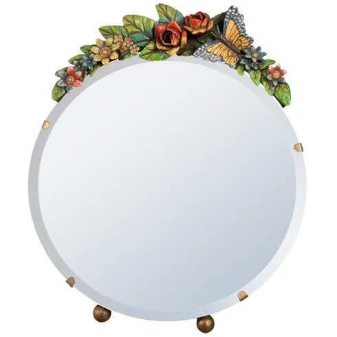 Barbola Round Floral Frame Table Mirror