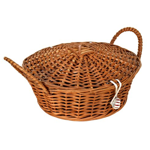 Round Willow Basket with Cover