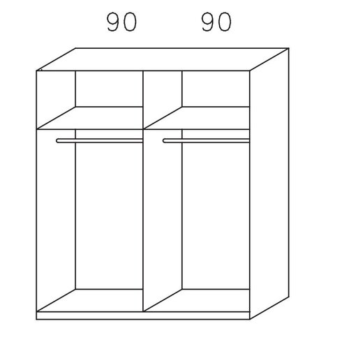Schwebetürenschrank Cholet, 181 cm H x 210 cm B x 62 cm T