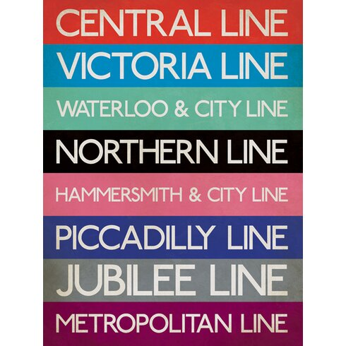 London Underground - Stations Typography Canvas Wall Art