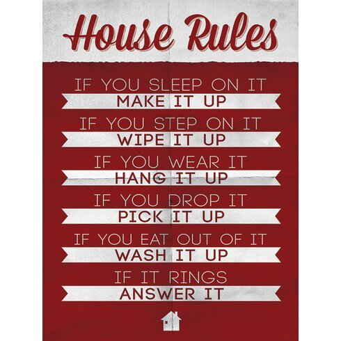 House Rules Typography Canvas Wall Art