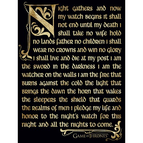 Game of Thrones Season 3 - Nightwatch Oath Typography Canvas Wall Art