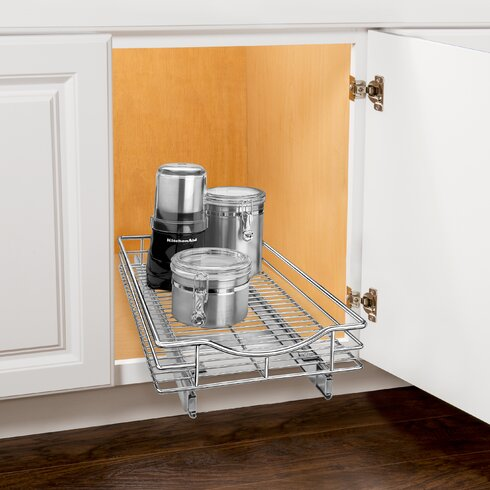 Roll Out Cabinet Organizer - Pull Out Drawer - Under Cabinet Sliding Shelf - 11 inch wide x 21 inch deep - Chrome
