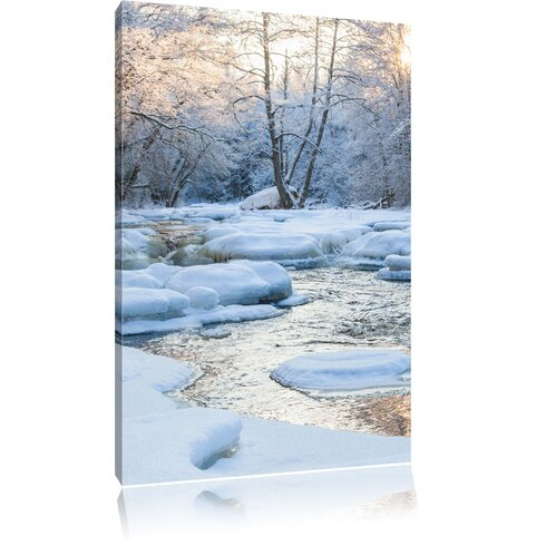 Stream Winter Landscape Photographic Print on Canvas