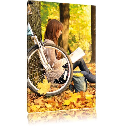 Teenager Girl with Bike Photographic Print on Canvas