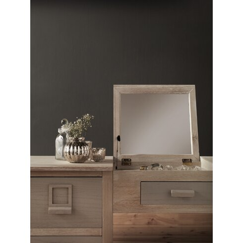 Wooden Vanity 4 Drawer Dressing Table with Mirror