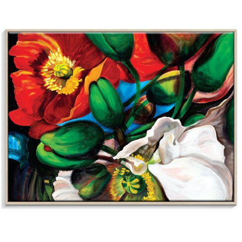 'Singing Poppies' by Shani Alexander Framed Art Print on Wrapped Canvas