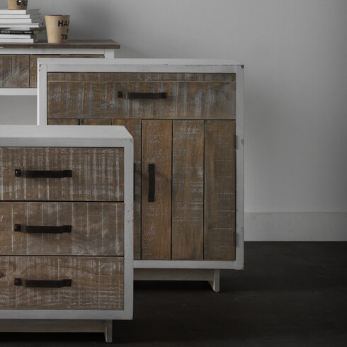 Wooden Rustic Front 1 Drawer 2 Door Cabinet