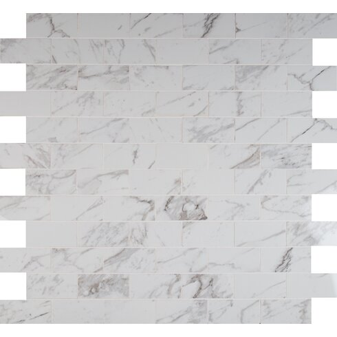 "Pietra 2"" x 4"" Porcelain Mosaic Tile in Carrara"