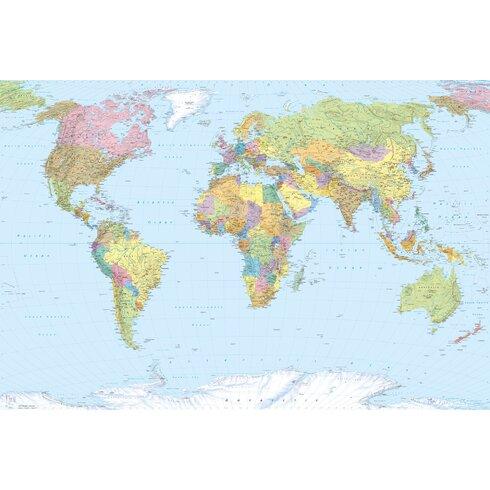 World Map 2.5m x 368cm Wallpaper Roll