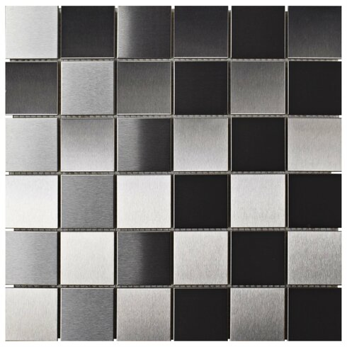 "2"" x 2"" Metal/Porcelain Mosaic Tile in Stainless Steel"