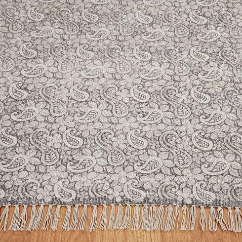 Handgewebter Teppich Abril in Grau
