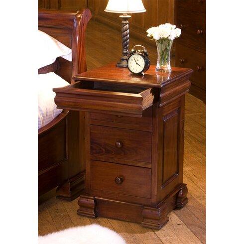 La Roque Mahogany 3 Drawer Bedside Table