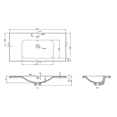 Quattrocast 90cm Semi Recessed Basin