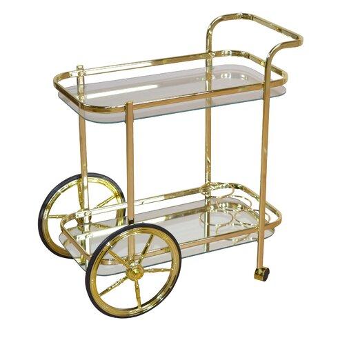 Servierwagen in Gold mit Glas