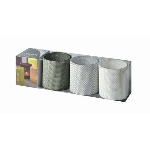 3-tlg. Teelichtgläserset Marah in Grau