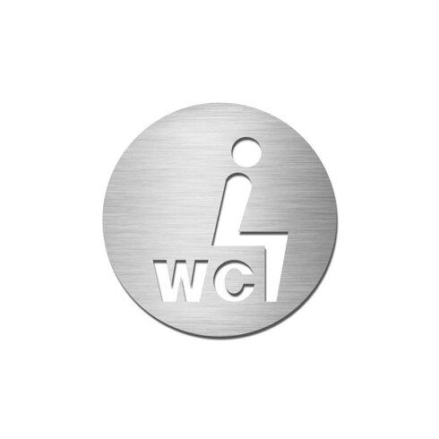 """Piktogramm rund selbstklebend """"WC-Sitzen"""" aus Edelstahl V4A"""