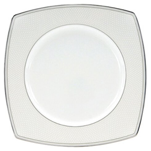 """Platinum Beaded Pearl 9"""" Square Accent Plate"""