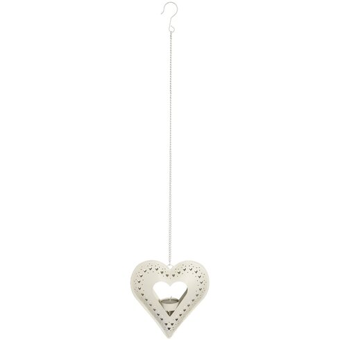 Metal Hanging Heart Tealight Holder
