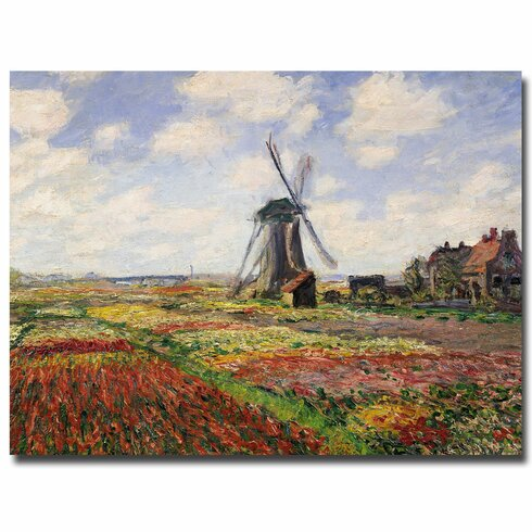 """Tulip Fields in Holland, 1886"" by Claude Monet Painting Print on Wrapped Canvas"