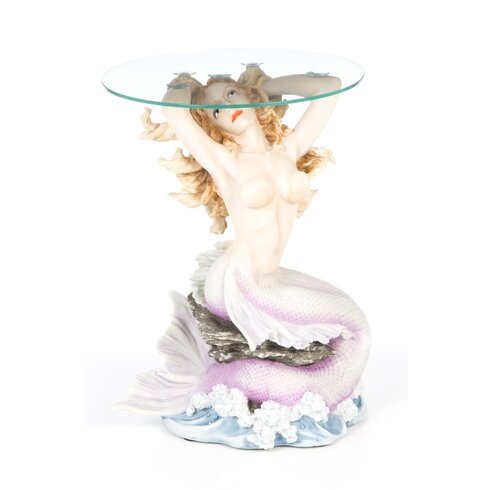 Design toscano mermaid of magellan 39 s cove glass topped for Mermaid coffee table