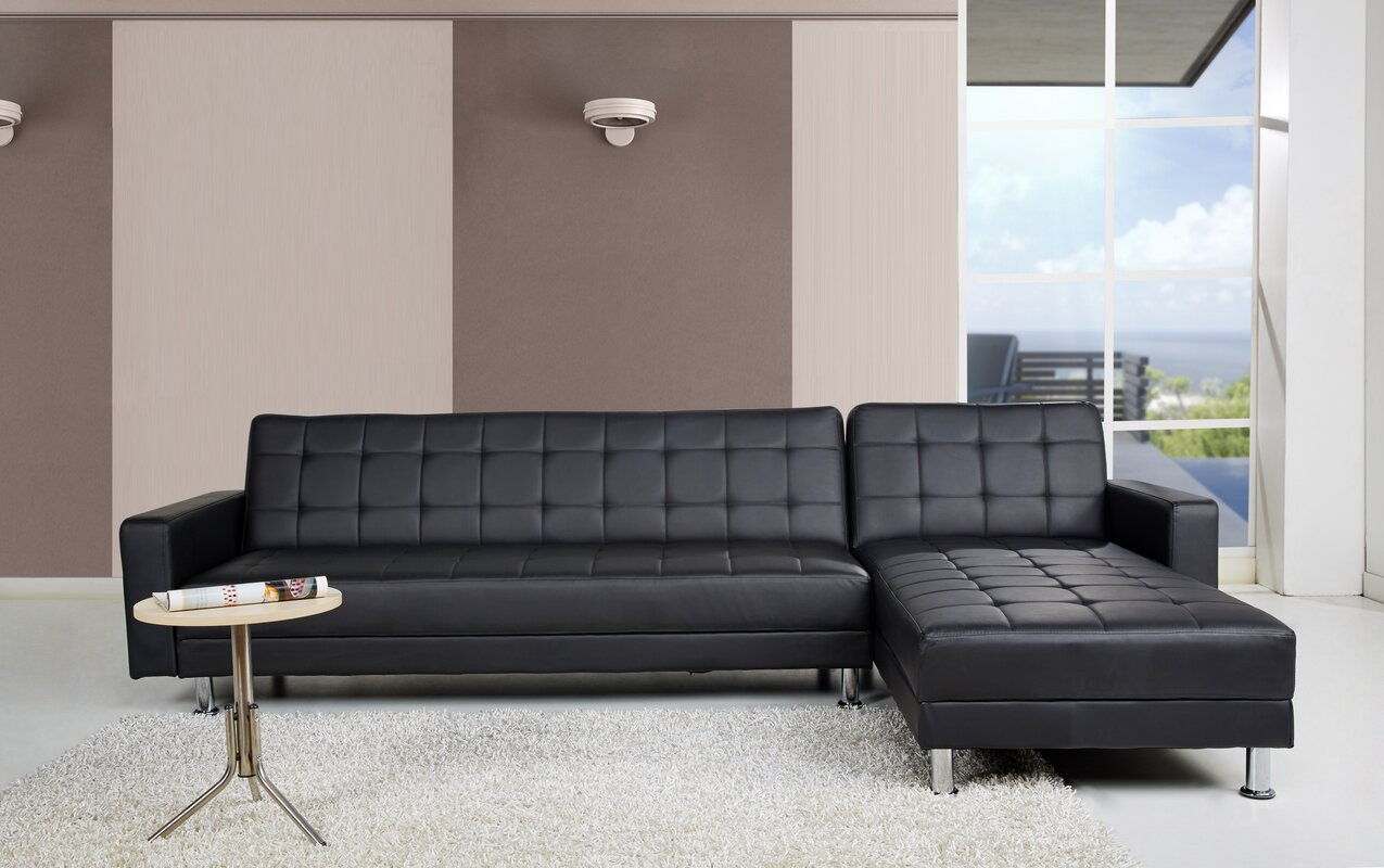 faux leather sectional sofas you'll love  wayfair -
