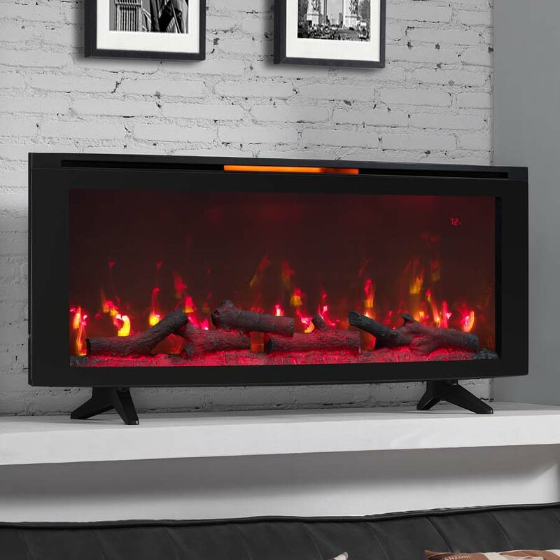 Varick Gallery Dahill Wall Mounted Infrared Quartz Electric Fireplace With Display Stand