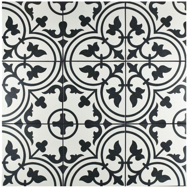 Artea 9 75 X 9 75 Porcelain Field Tile In White Black